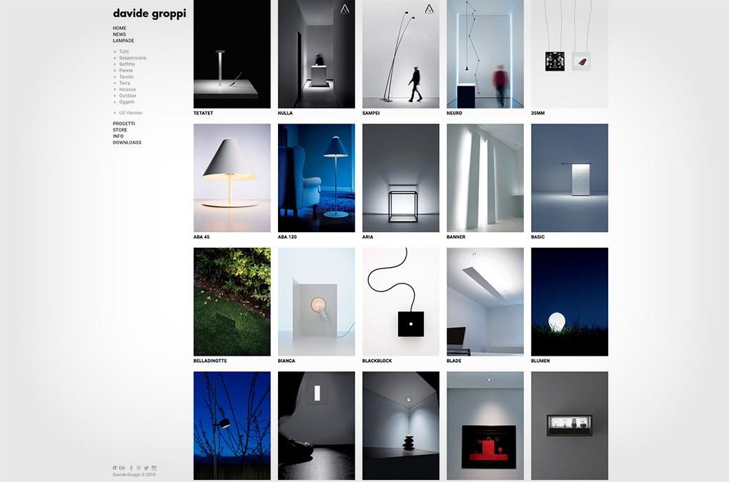 davide groppi sito web - menu lampade